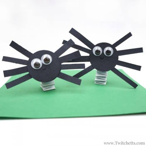 Bouncing construction paper spiders halloween craft for for What does punch out mean in construction
