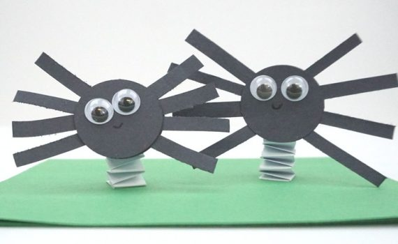 Bouncy construction paper spiders that use up some of your black construction paper. These are fun Halloween crafts for kids.