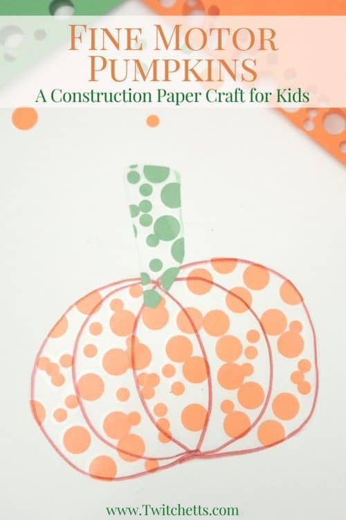 A simple pumpkin themed fine motor activity combines construction paper and contact paper to create a fun pumpkin craft. This activity for preschoolers is perfect for fall, Halloween, or Thanksgiving. Hang this pumpkin suncatcher in any window for a fun fall decor.