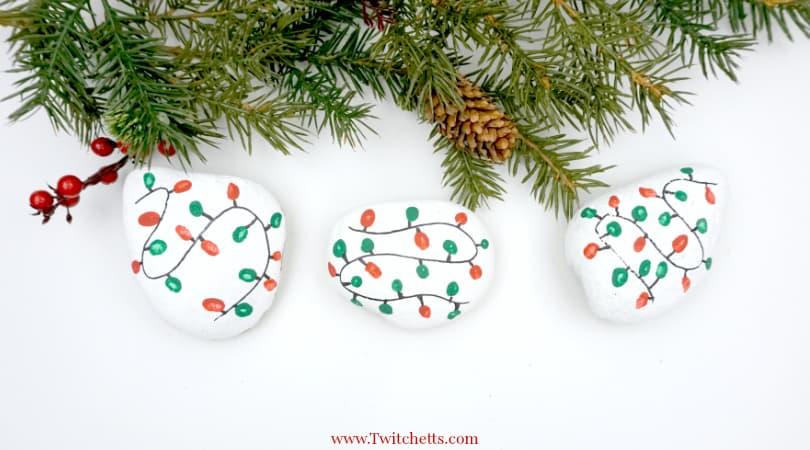 Christmas Lights Rock Art ~ Easy Rock Painting