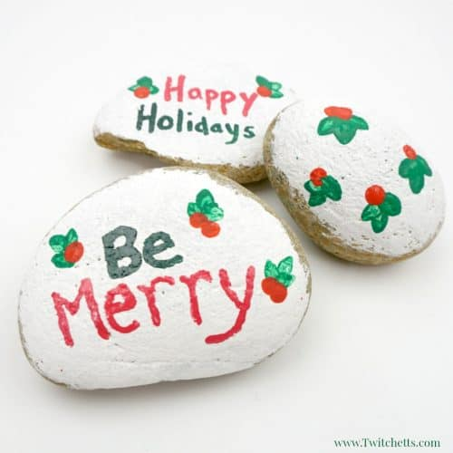 See how easy Christmas painted rocks can be! This fun technique creates fun stone painting projects for kids.