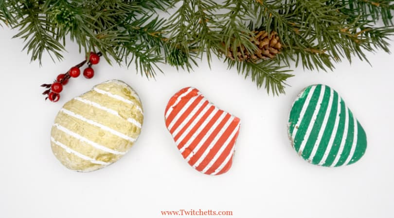 Christmas Striped Stones ~ Easy Rock Painting Ideas