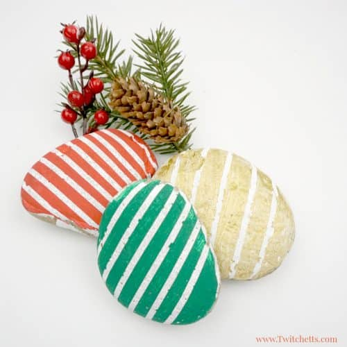 Christmas Striped Stones Easy Rock Painting Ideas