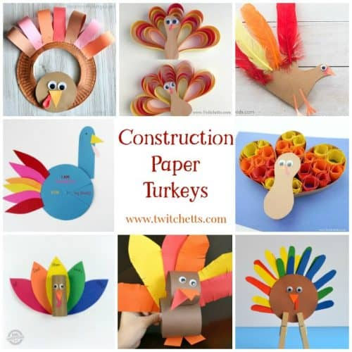 Construction paper turkeys are fun and easy Thanksgiving crafts for kids.