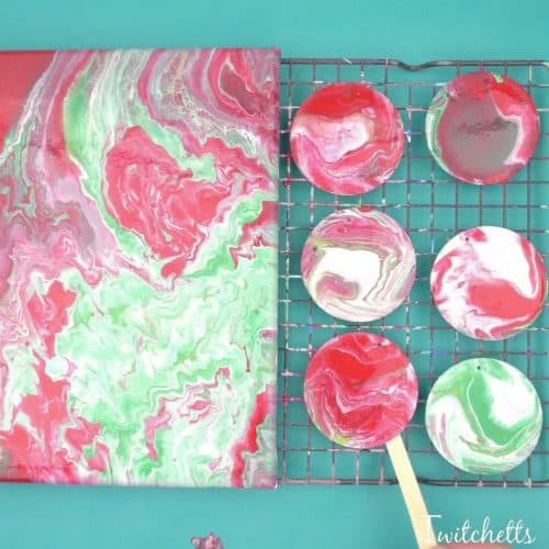 Your kids can create these amazing poured Christmas ornaments. Because pour painting is so unique, each ornament will be unique and amazing!
