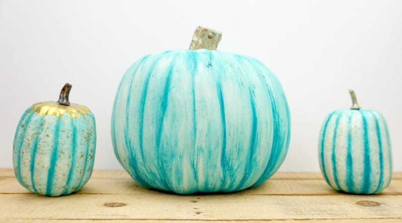 Teal Painted Plastic Pumpkin ~ Teal Pumpkin Ideas