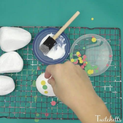 These construction paper dotted rocks are a fun twist on stone painting.