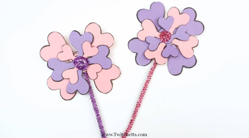 Construction Paper Flowers Made From Hearts ~ Valentine's Day Crafts for Kids