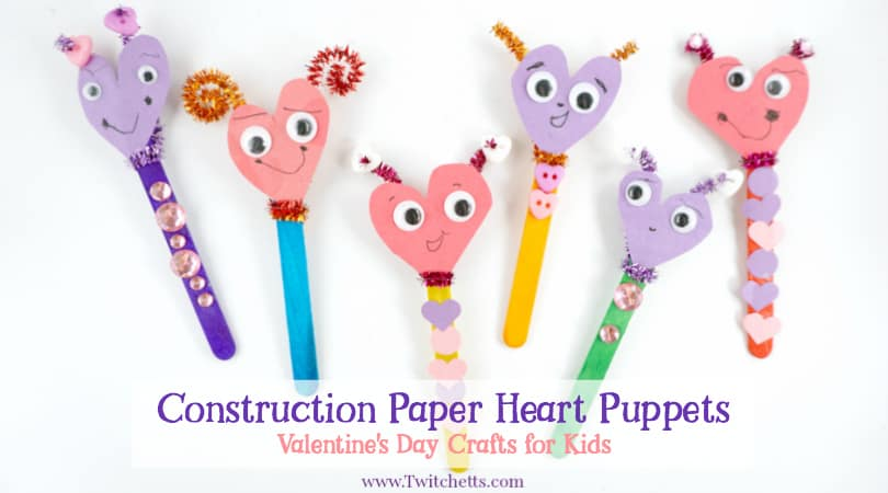 construction paper heart puppets
