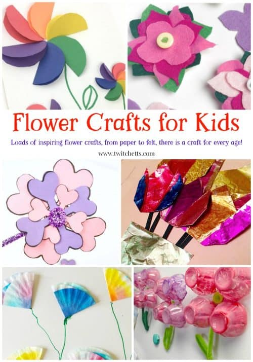 Flower crafts for kids ~ From paper flowers to felt, foil, egg cartons and more! Perfect for spring crafts, mothers day, and more! #flowercraftsforkids #flowercrafts #paperflowers #mothersdaycrafts #springcrafts #craftsforkids #twitchetts