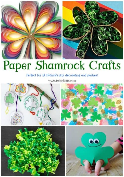 Paper Shamrocks. Fun St Patrick's Day crafts for kids.  Perfect for decorating your classroom and entertaining at your St Patty's Day Party.  #papershamrocks #stpatricksday #stpatricksdaycrafts #stpattys #shamrock #fourleafclover #shamrockcraft #fourleafclovercraft #craftsforkids #constructionpapercraftsforkids #twitchetts