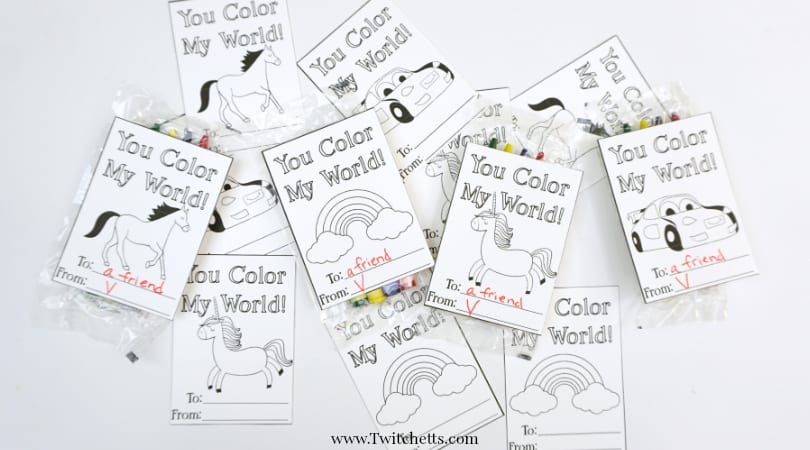 Printable Valentine's Day Cards to Color ~ Homemade Valentine's Gifts from Kids
