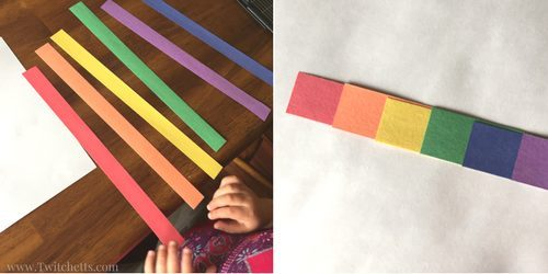 How to make a rainbow with construction paper ~ 3D rainbow art for preschoolers