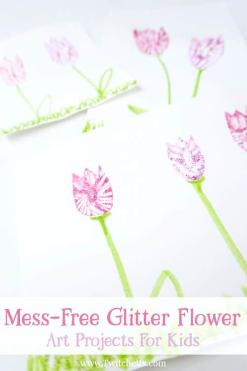 This mess-free glitter flower shimmers and sparkles like most glitter craft ideas...but without the crazy glitter cleanup! Check out this amazing spring art project for kids and see how easy they are to create. #messfreeglitterflower #messfreeglitter #glittercraftideas #craftstodowithglitter #tulipcraft #tulipartproject #springcraftsforkids #glitterartsandcrafts #glitterglue #flowercrafts #artprojectsforkids #twitchetts