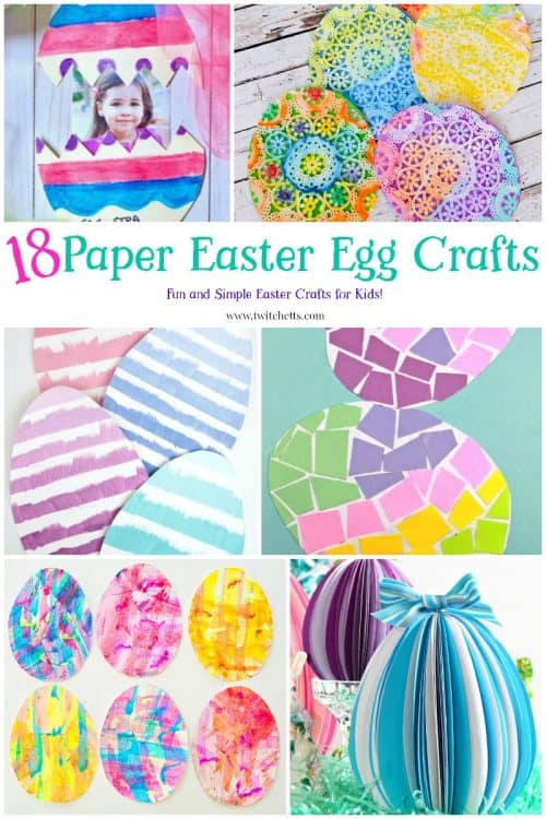 Paper Easter Eggs. Create fun paper eggs that are perfect for a fun Easter craft for kids. #papereasteregg #eastereggcraft #eastercraftforkids #eastereggs #paperegg #papercraftsforkids #constructionpaper #twitchetts