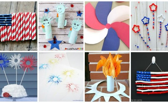 Celebrate the 4th of July with these fun patriotic crafts for kids. These red, white, and blue art projects are perfect for Independence Day, Flag Day, Memorial Day or any other time you want to celebrate the United States of America.