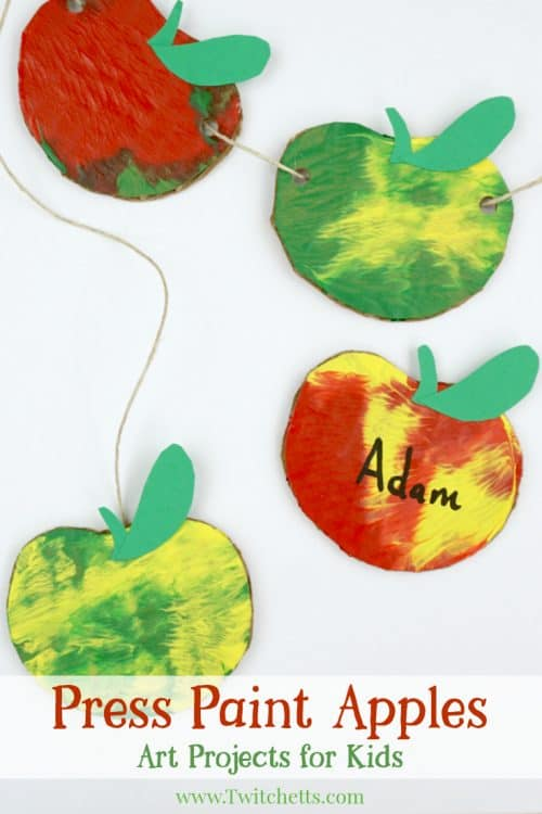This apple themed press painted garland is so much fun to make! Apples are the perfect way to decorate a classroom for back to school or your living room for fall. Plus your kids will love that can help make them!