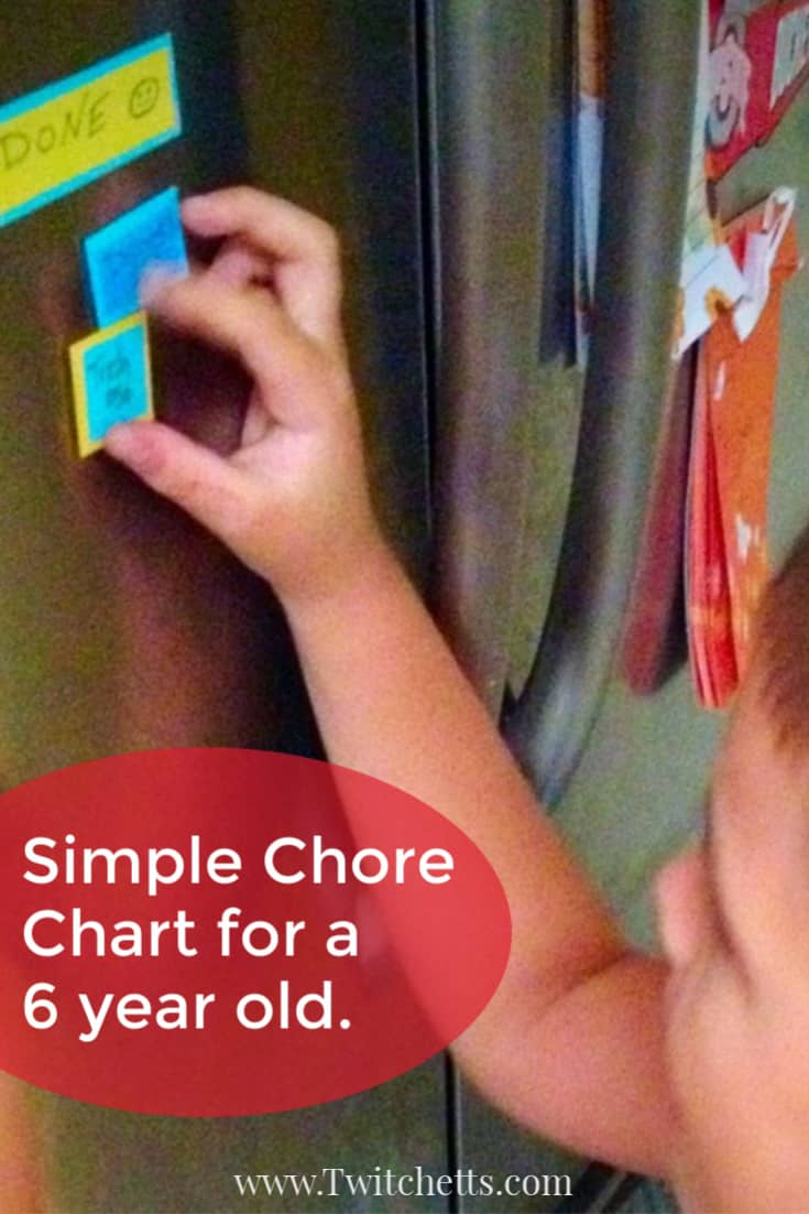 This simplechore chart for a 6 year old is easy to create and perfect for helping your child learn about responsibility and earning money. A magnet chore chart is fun for your child and simple for you to manage. #twitchetts