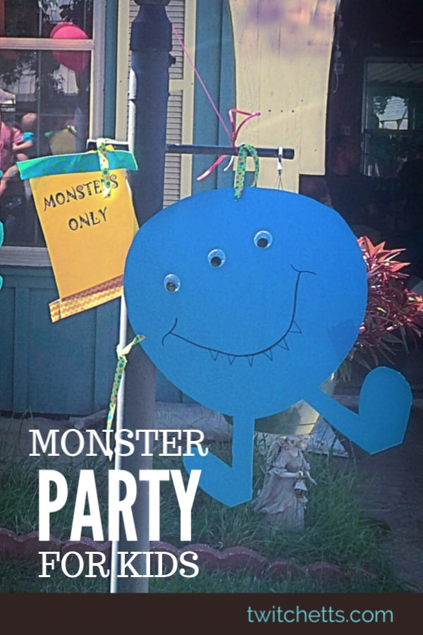 Monster themed birthday party that is perfect for a boys first birthday. Monster cake, plus monster decorations, and other monster themed first birthday ideas. #twitchetts