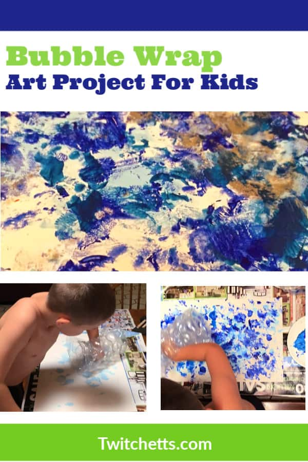 Bubble Wrap Art is a therapeutic form of process art for kids.  After a bad day, they can do some bubble wrap painting to cure their bad day.  The results are so cool, you may even want to frame it! #twitchetts #processart #bubblewrap