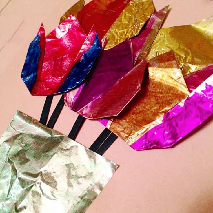 Foil flower craft for kids