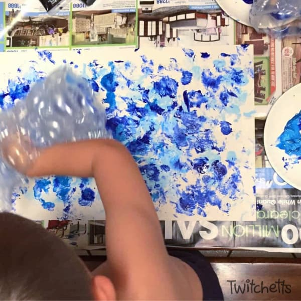 Bubble Wrap Art is a therapeutic form of process art for kids.  After a bad day, they can do some bubble wrap painting to cure their bad day.  The results are so cool, you may even want to frame it!