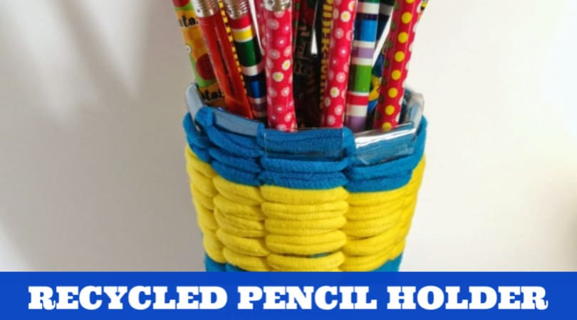 Create this fun and colorful recycled pencil holder using a plastic bottle and t-shirt yarn. Kids can give them as gifts or use them on their own desks.