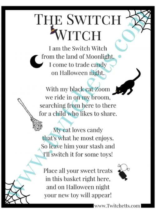 Switch Witch Poem. A fun Halloween tradition to help with the giant piles of candy from Trick Or Treating
