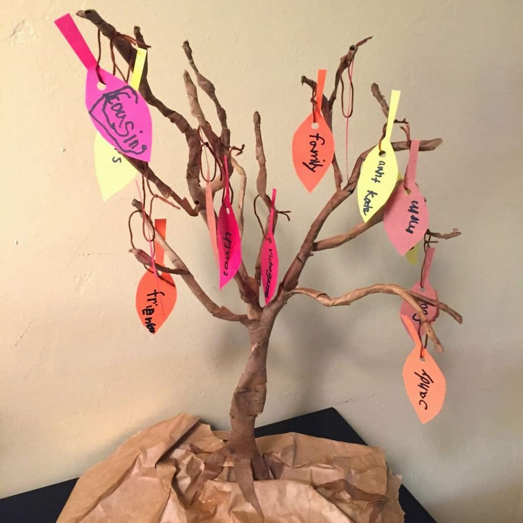 Create a DIY Thankful tree for one of your thanksgiving decorations this year! This activity will help you teach your kids the meaning for the season. #thankfultree #thanksgivingtree #thanksgivingfamilytraditions #thanksgivingcraft #thankful #craftsforkids #thanksgivingdecoration #decor #twitchetts