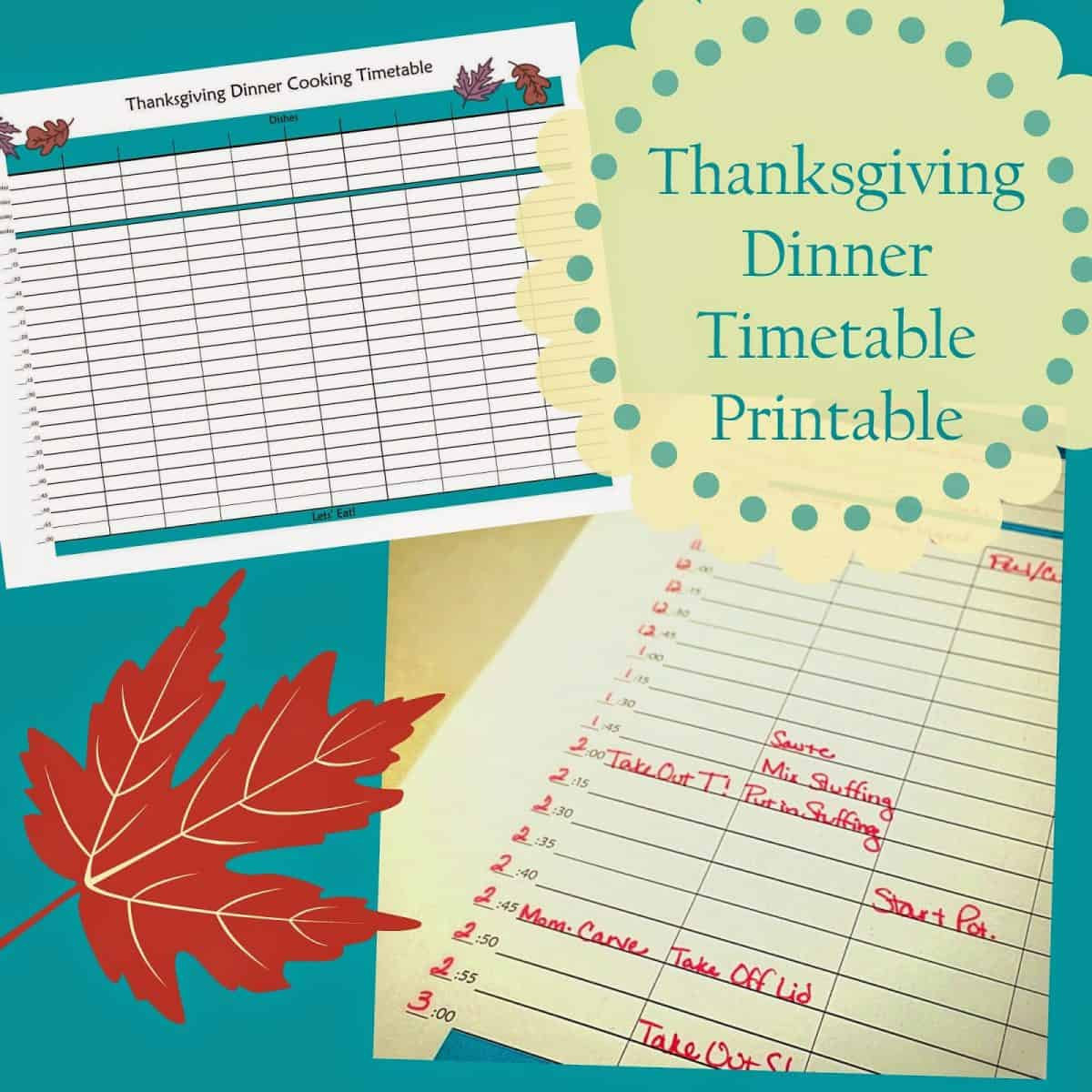 Thanksgiving Day Timetable Printable