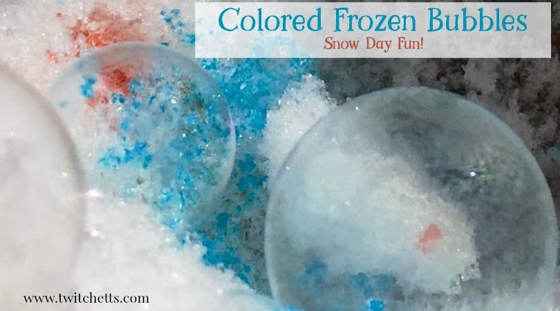Create a colored frozen bubble! This snow day activity is a great way to mix it up and sneak in a little play-based learning!