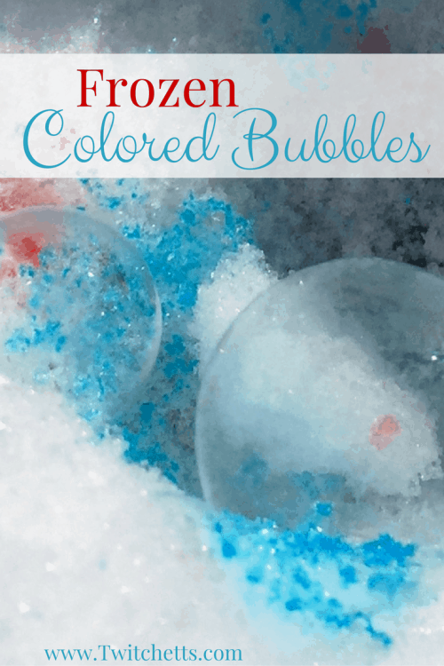 Check out these fun frozen colored bubbles. They are a fun winter activity for any snow day!