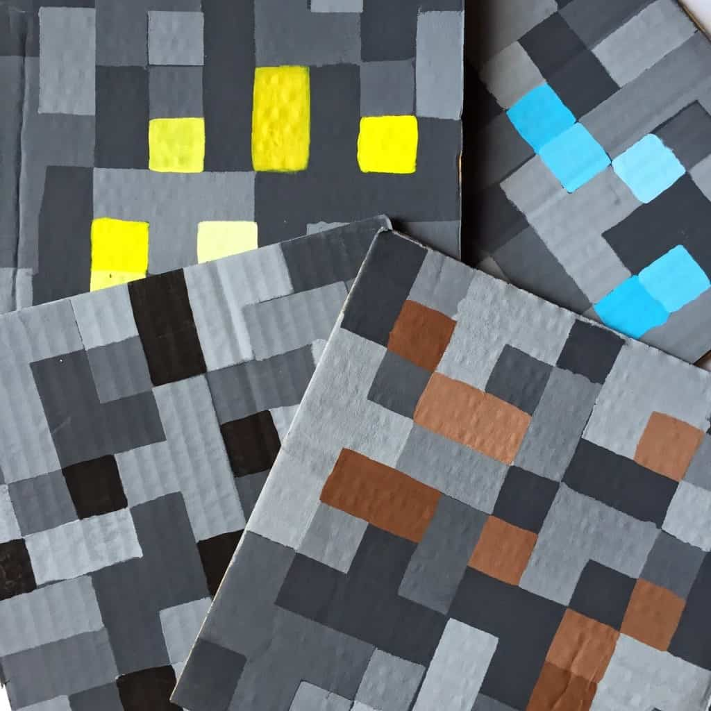 Any MineCraft fan will love these easy DIY creations. Swords, Pickaxes, working Torches, and bricks. For decorating, party activities, or everyday play.