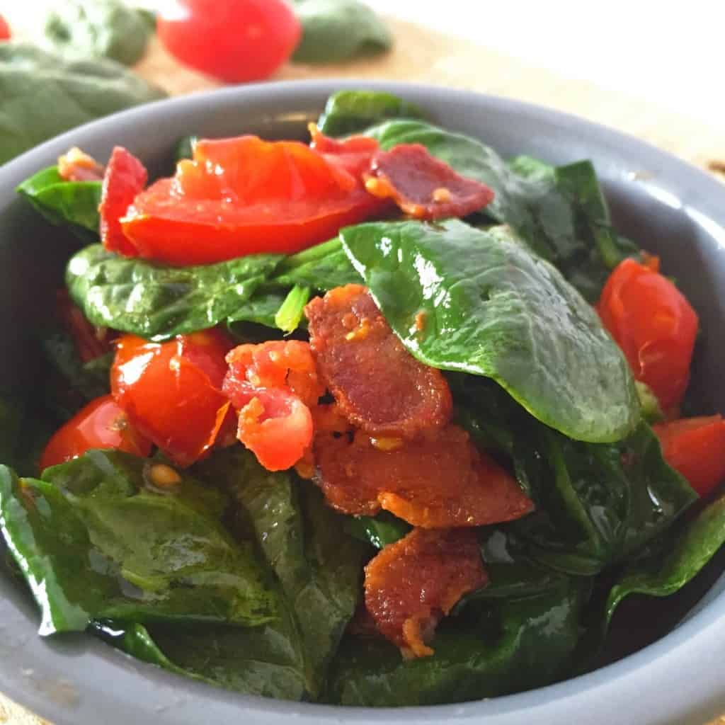 This delicious BLT inspired Spinach Side Dish is a quick and easy add on it any meal. This healthy vegetable goes great with the bacon & tomato combination!