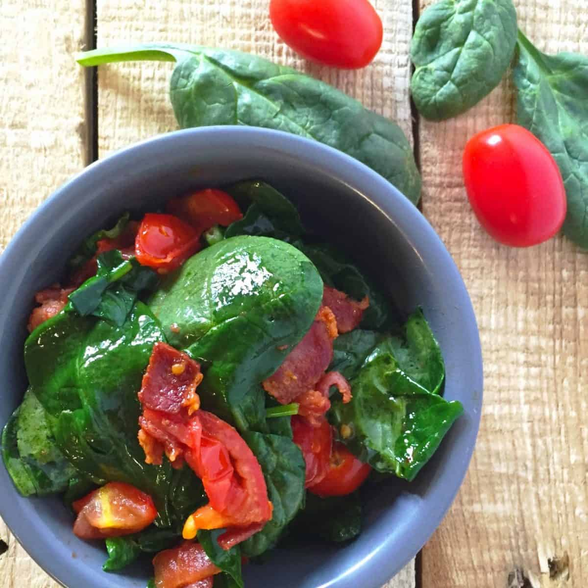 BLT inspired Spinach Side Dish
