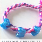 """Image of friendship bracelet made with yarn. Text reads """"Friendship bracelet - 2-Minute Twist"""""""