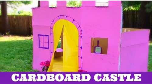 """Image of a castle made of cardboard. Text reads """"Cardboard Castle"""""""