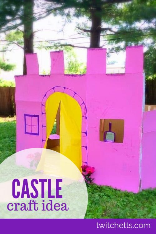 """Image of a castle made of cardboard. Text reads """"Castle craft ideas"""""""