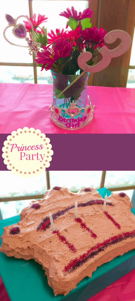 Princess Birthday Party. 3rd Birthday Ideas. Cardboard Castle and naturally colored cake.