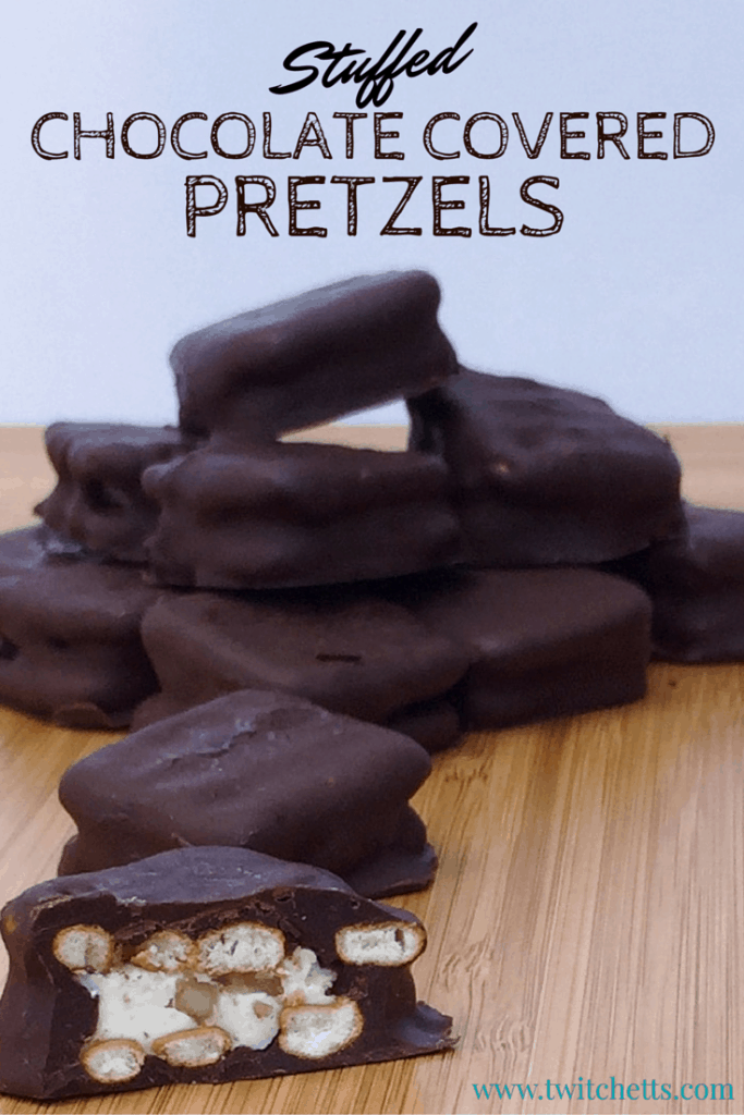 Homemade hand dipped in chocolate. These Stuffed Chocolate Covered Pretzels are sure to become a family favorite!