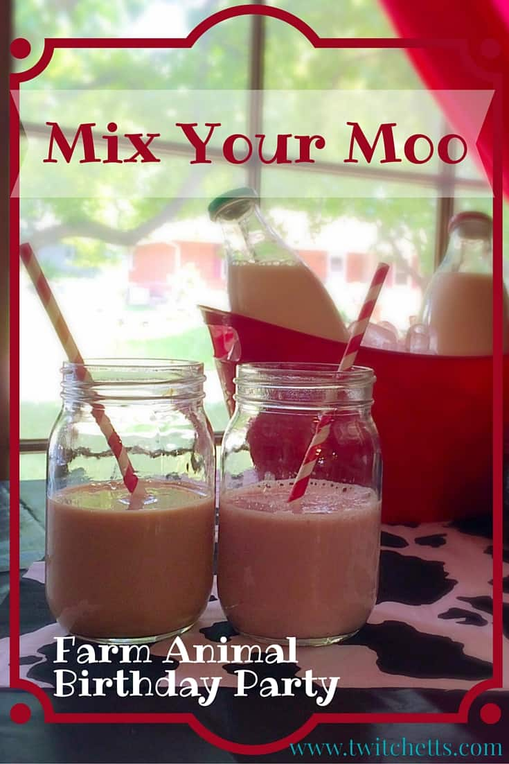 Farm Animal Birthday Party. Decoration ideas, farm food, activity, and fun drinks! Mix Your Moo