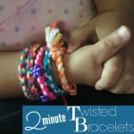 Create this 2 minute twisted bracelet with your kiddos. Easy supply list, great first friendship bracelet.