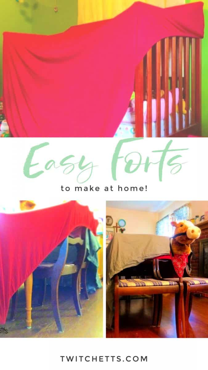 If you're stuck inside, you don't want to miss these 3easy forts to make inside. Each one of these cool forts can be constructed in 5 minutes or less. So it's perfect for a snow day, extra hot day, or rainy day! #twitchetts