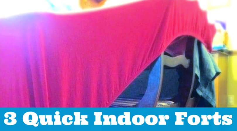 If you're stuck inside, you don't want to miss these 3easy forts to make inside. Each one of these cool forts can be constructed in 5 minutes or less. So it's perfect for a snow day, extra hot day, or rainy day!