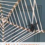 "t-shirt yarn spider web wreath. Text reads: ""Halloween Wreath"""