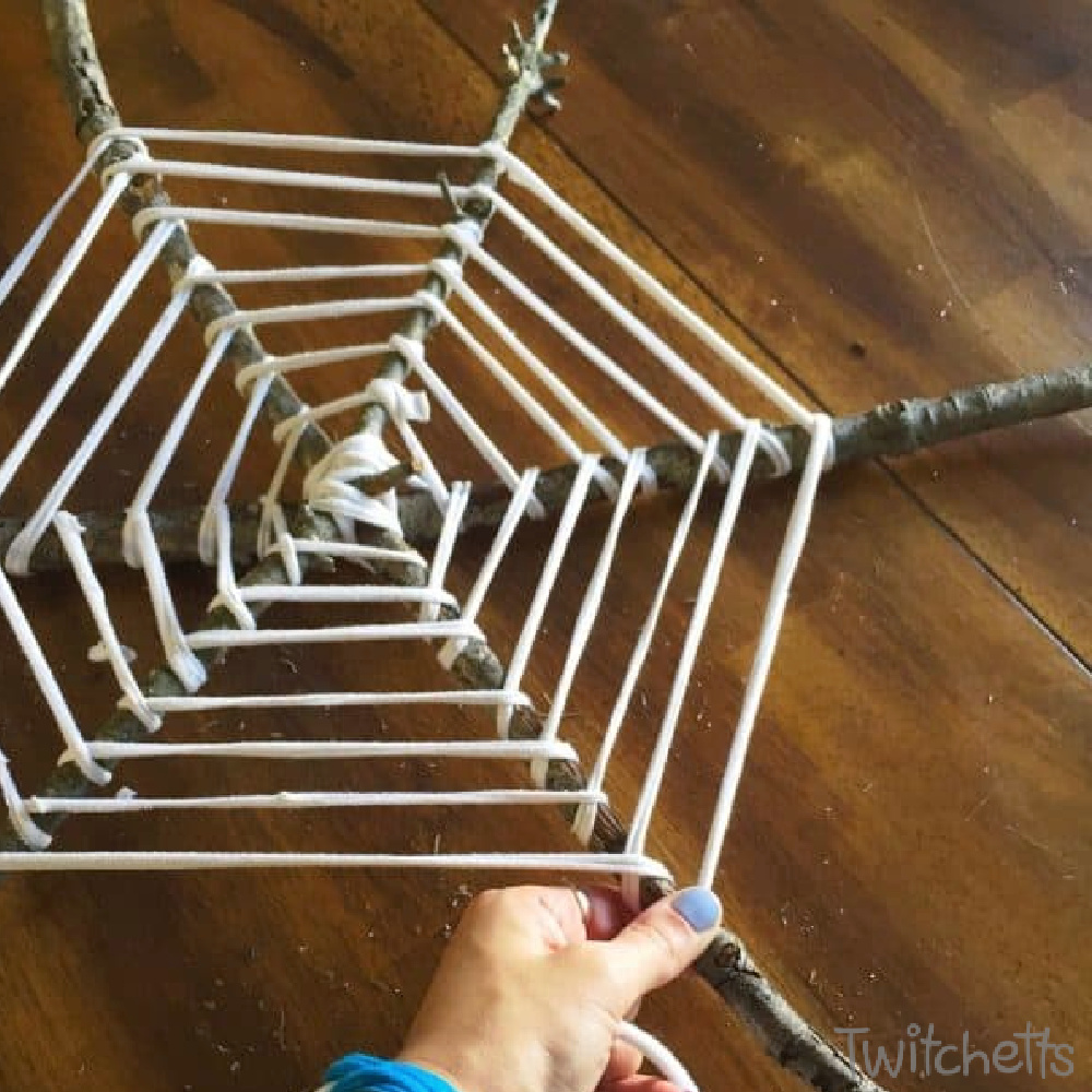 In process image of a spider web wreath