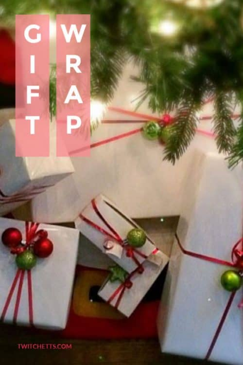 This funChristmas gift wrap idea is perfect for anyone on a budget or with very little time. This simple technique presents a big wow, with very little effort! #giftwrap #wrappingpaper #holidaygifts #white #wrappingpaper #simple #twitchetts