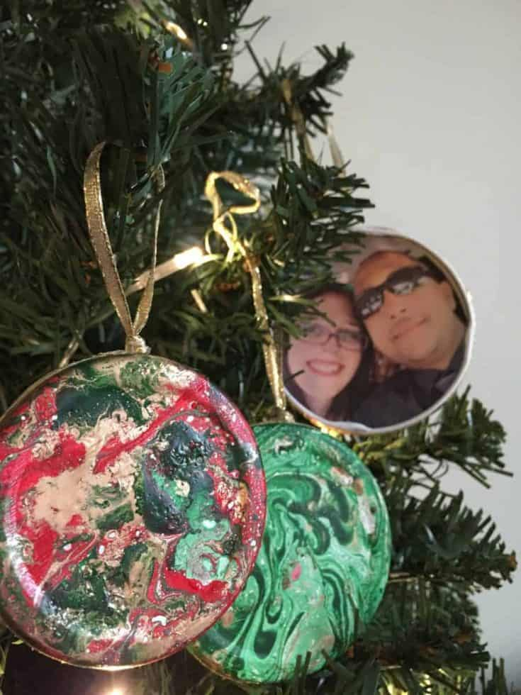 Marbled Picture Christmas Ornaments
