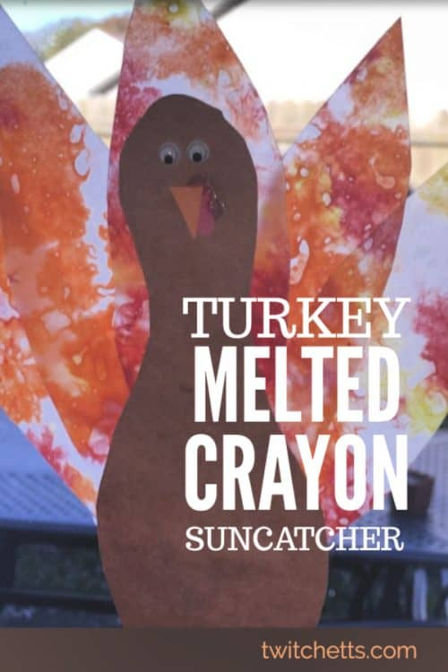 Create melted crayon turkeys for some Thanksgiving fun! These turkey suncatchers are perfect for decorating your home or classroom. And no two will look the same! #turkey #meltedcrayon #thanksgiving #classroomcraft #suncatcher #craftsforkids #twitchetts
