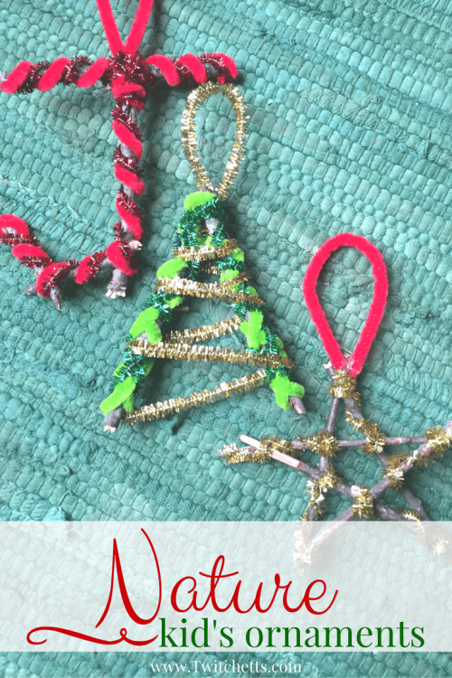 Create a funnature ornament using sticks. Your kids will love the process from start to finish and they are fun to hang on your Christmas tree. #natureornament #christmasornament #kidmade #holiday #sticks #pipecleaners #kidscrafts #twitchetts